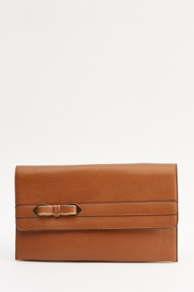 Bow Detailed Faux Leather Clutch