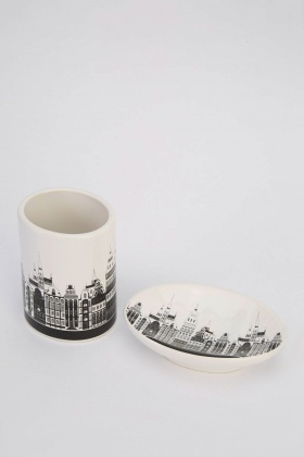 Building Print Soap Dish And Toothbrush Holder Set