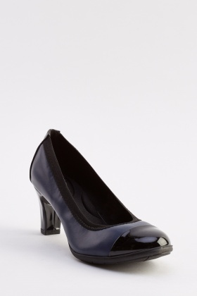 Contrast Faux Leather Heeled Pumps