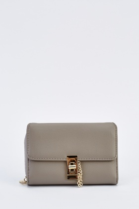 Detailed Front Faux Leather Purse