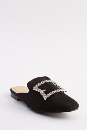 Encrusted Suedette Slip On Shoes