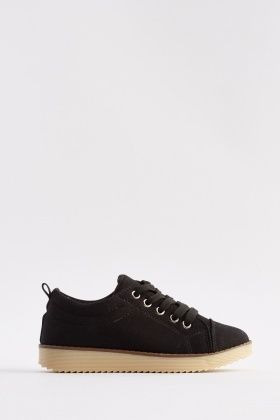 Lace Up Canvas Low Top Trainers
