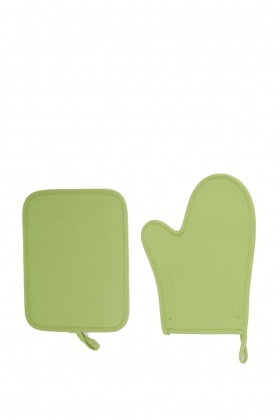 Lime Oven Mitt And Pot Holder Set
