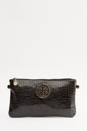 Mock Croc Large Clutch Bag
