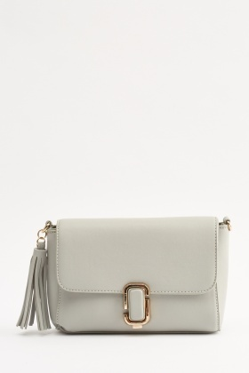 Tassel Faux Leather Crossbody Bag
