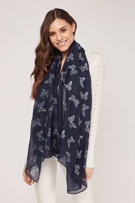 Butterfly Printed Sheer Scarf