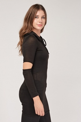 Cut Out Fine Knit Sheer Hoodie