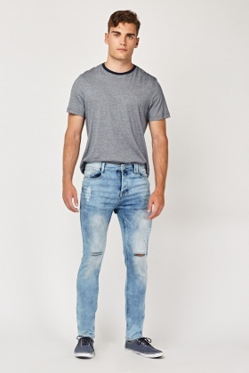Distressed Denim Blue Jeans
