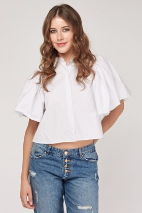 Frilly Circular Sleeve Crop Shirt