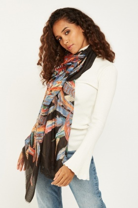 Metallic Feather Printed Scarf