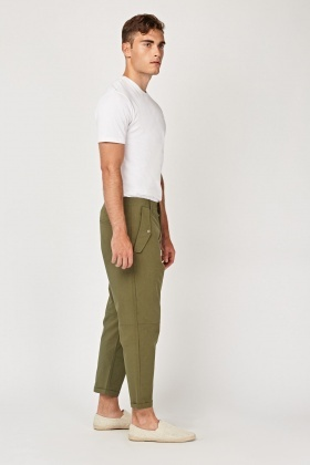 Mid Rise Chino Crop Trousers