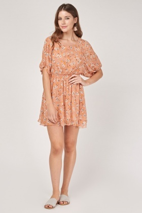 Sheer Printed Juliet Sleeve Dress