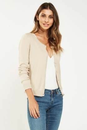Thin Knit Round Neck Cardigan