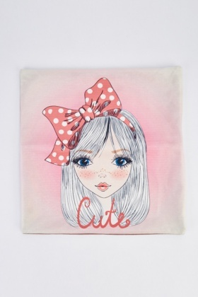 Cute Girl Print Cushion