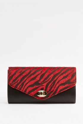 Faux Fur Printed Contrast Clutch Bag