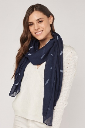 Feather Print Sheer Scarf