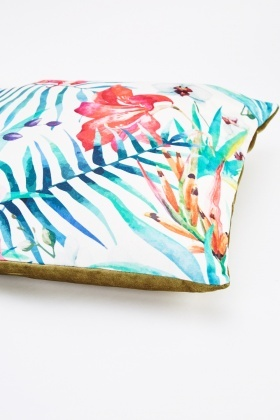 Floral And Leaf Print Cushion
