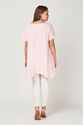 Graphic Front Asymmetric Top