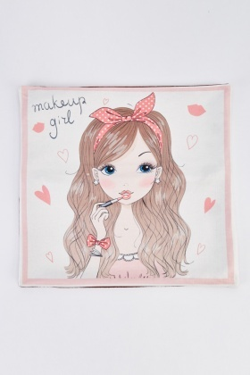 Make Up Girl Print Cushion
