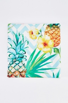 Pineapple And Floral Print Cushion