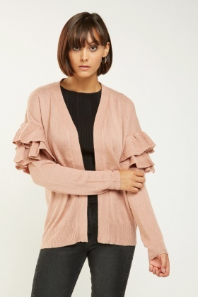 Ruffle Sleeve Knit Cardigan
