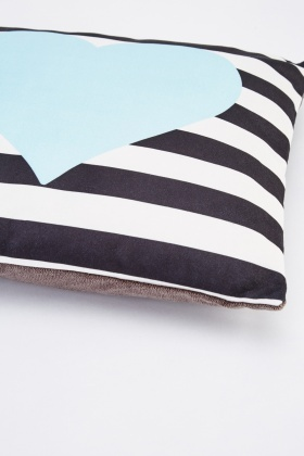Striped Heart Print Cushion