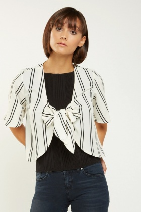 Tie Up Striped Bolero Top