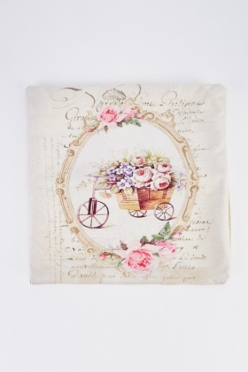 Victorian Wheelbarrow Floral Cushion