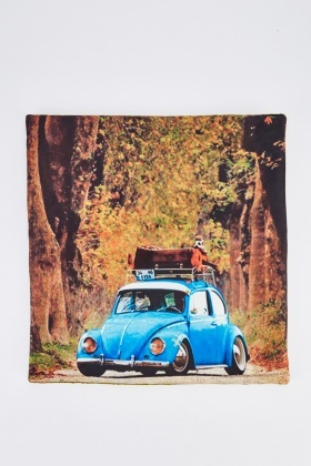 Vintage Car And Forrest Print Cushion