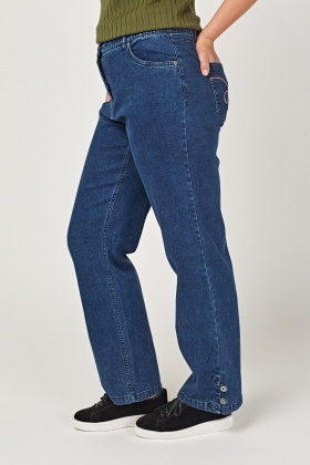 Wide Fit Denim Casual Jeans