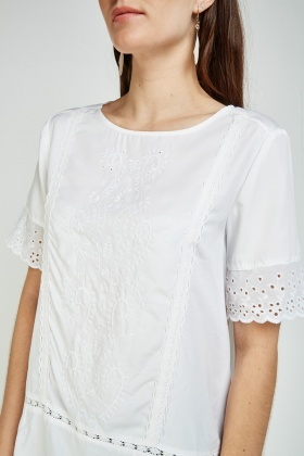 Embroidered Crochet Broderie Top