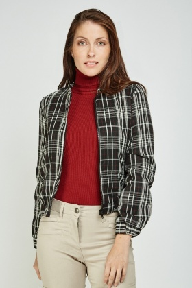 Long Sleeve Tartan Bomber Jacket