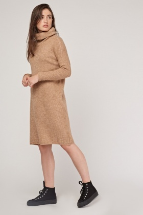 Slouchy Neck Knitted Jumper Dress