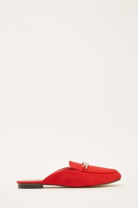 Chain Trim Slip-On Suedette Loafers