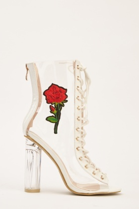Embroidered PVC Transparent Boots