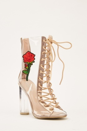 Embroidered Transparent Lace Up Boots