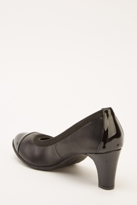 Faux Leather Low Heel Courts