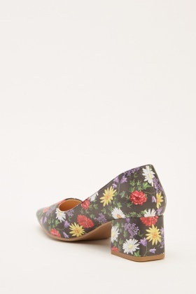 Floral Print Low Heel Courts