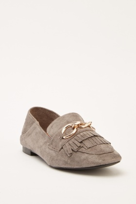 Layered Fringe Suedette Loafers