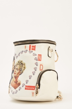 Novelty Print Bucket Backpack