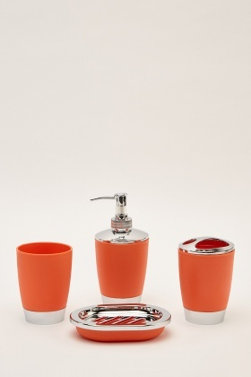 4 Piece Bathroom Orange Set