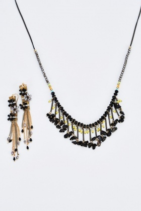 Beaded Mixed Necklace And Earrings Set