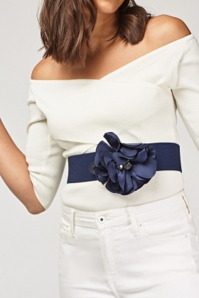 Elastic 3D Flower Wide Belt