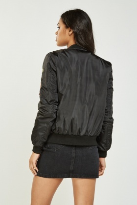 Embroidered Patched Trim Bomber Jacket