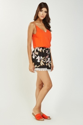 Printed Crochet Trim Shorts