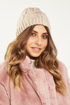 Cable Chunky Knit Beanie Hat