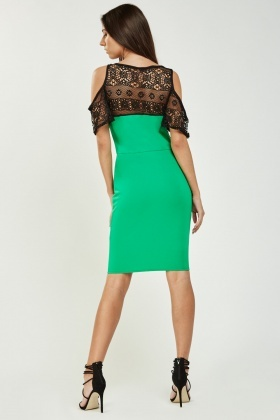 Crochet Overlay Bodycon Dress