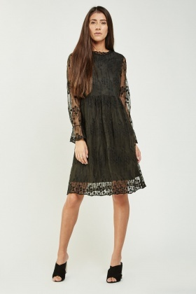 dae795c9ee0d Embroidered Net Overlay Midi Dress - Just £5