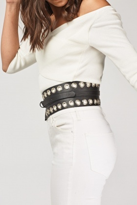 Eyelet Trim Wide Belt
