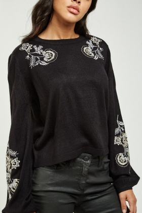 Flower Embroidered Knit Sweater